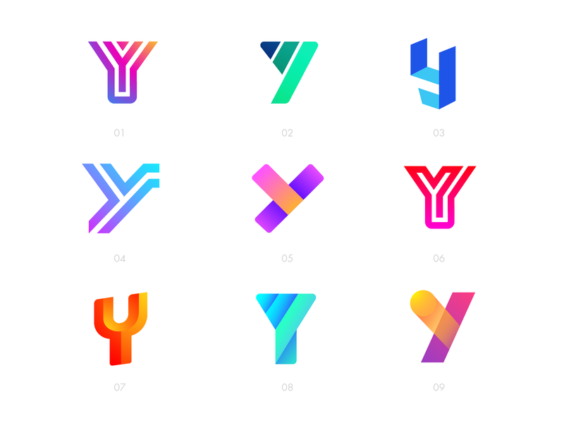 Letter Y Exploration — All Concepts flat shadow bright shading 2d 3d volume lines designer buy unused sale design ui app logotype word color gradient grid type typography type text brand identity branding graphic logo mark symbol icon