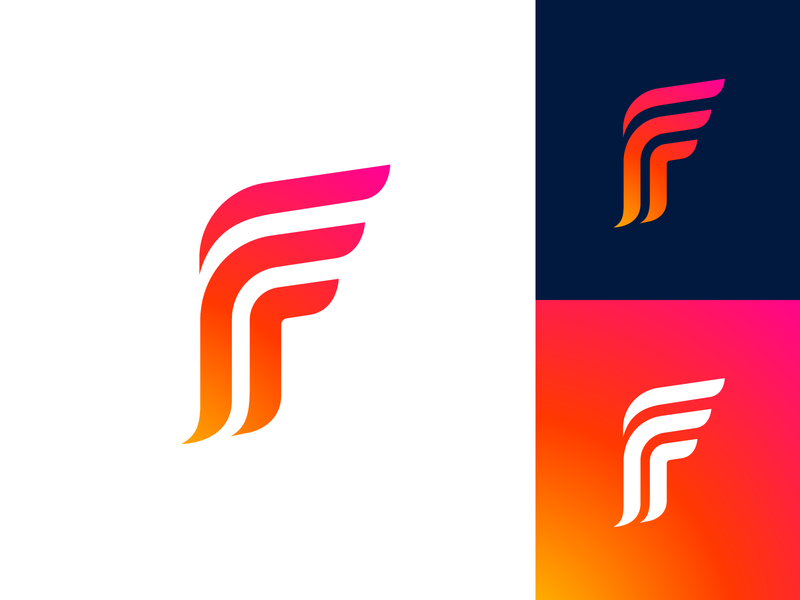 Letter F Exploration — Concept 01 typeface flow custom word form type text typography business social media marketing gradient modern solid color design ui app startup brand identity branding graphic logo mark symbol icon