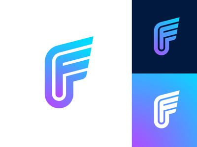 Letter F Exploration — Concept 02 (Unused for Sale) for sale unused buy logo mark symbol icon brand identity branding graphic design ui app startup gradient modern solid color business social media marketing form type text typography typeface flow custom word