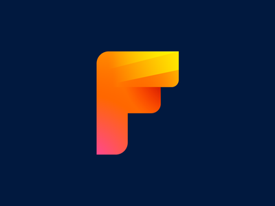 Letter F Exploration — Concept 03 (Unused for Sale) dark light contrast blend typeface custom word 2d form type text typography business social media marketing gradient modern solid color design ui app startup brand identity branding graphic logo mark symbol icon for sale unused buy