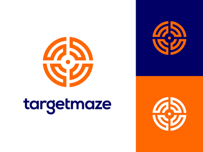 Targetmaze Logo Exploration (Unused for Sale) maze game way out center path space labyrinth logo mark symbol icon brand identity branding graphic for sale unused buy type wordmark text typography aim shoot crosshair point ui app startup company 2d lines orange white find solution challenge smart geometry circle geometric grid