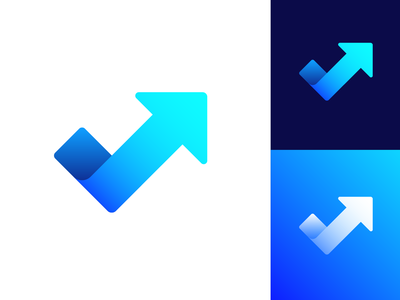 Checkmark + Arrow Logo Exploration (Unused for Sale) hub group leader creative fit club athlete personal sport coach trainer personal check box done complete increase arrow direction fast scale up high elevate fitness growth success rise gradient grid ui app for sale unused buy brand identity branding graphic logo mark symbol icon