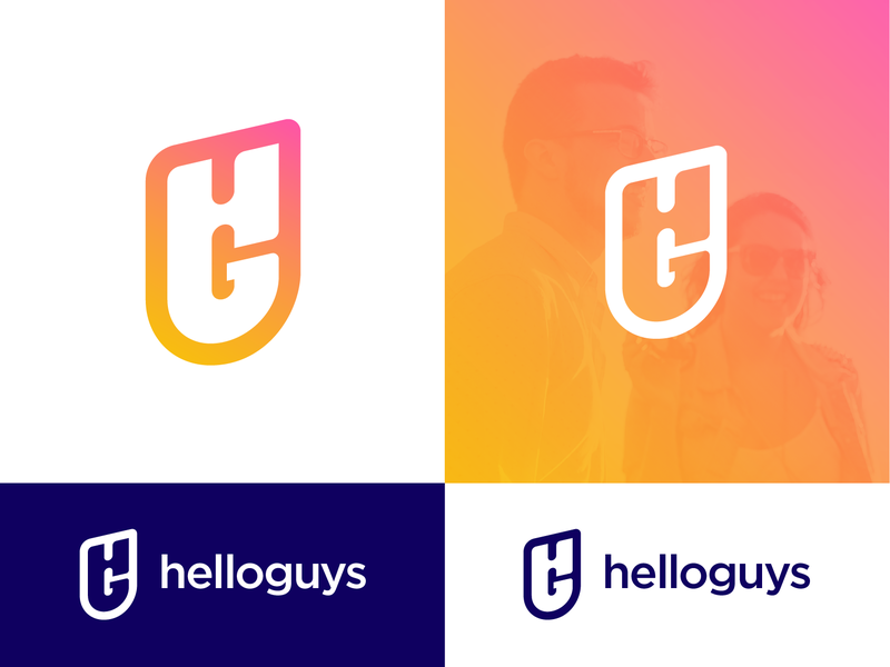 Helloguys Logo Proposal (Unused — For Sale) success letter h g websites sales up rise type text typography lettermark design ui modern monogram business social media web gradient grid startup company for sale unused buy brand identity branding graphic logo mark symbol icon