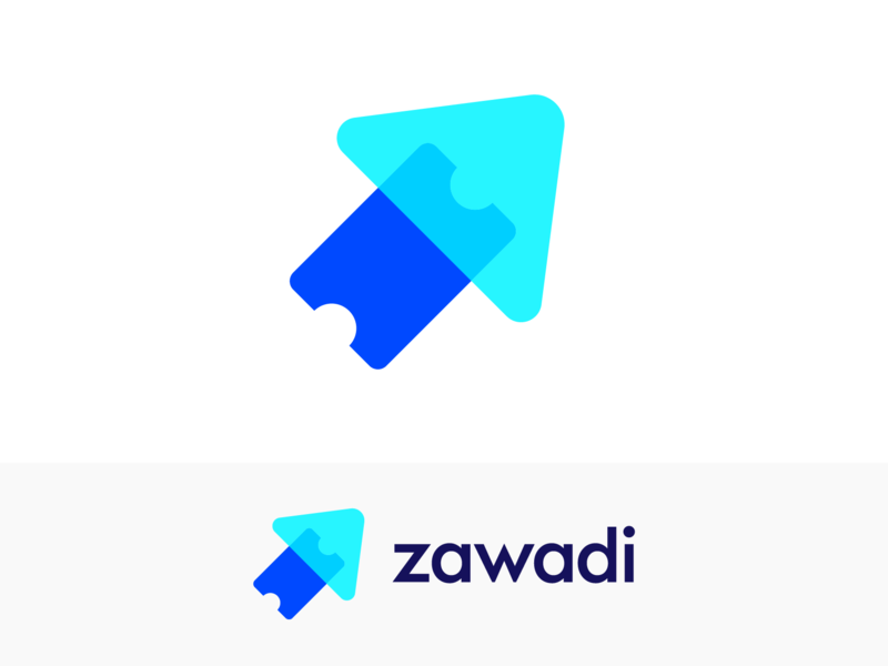 Zawadi Logo Proposal for Ticketing Platform organizer buy online people fun modern flexible confidence guarantee happy safe peace move motion fast reliable success progress scale forward secure arrow up rise ticket event token blockchain business marketing social media blue overlay transparent clean flat ui 2d 3d for sale unused buy brand identity branding graphic logo mark symbol icon