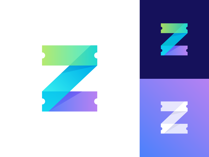 Zawadi Logo Proposal Option 2 for Ticketing Platform colors mix shadow depth fresh young vibe colorful letter z type text green neon cyber purple logo mark symbol icon brand identity branding graphic for sale unused buy flat ui 2d 3d blue overlay transparent clean business marketing social media ticket event token blockchain guarantee happy safe peace fun modern flexible confidence organizer buy online people