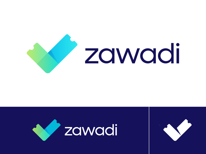 Zawadi Approved Logo Design for Ticketing Platform check mark done ready organizer buy online people fun modern flexible confidence guarantee happy safe peace ticket event token blockchain business marketing social media blue overlay transparent clean flat ui 2d 3d brand identity branding graphic logo mark symbol icon green neon cyber purple fresh young vibe colorful colors mix shadow depth
