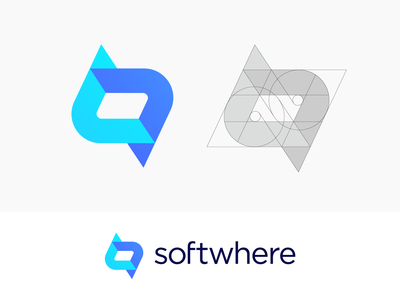 Softwhere Logo Proposal for Software Company (Sold) for sale unused buy logo mark symbol icon brand identity branding graphic code coding software it website social media lines letter s endless clean build launch product developer tech technology process business startup marketing app host hosting soft