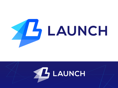 Launch Approved Logo Design for Digital Screen Protection logo mark symbol icon brand identity branding graphic launch start ignite go fast speed motion dynamic overlay modern gradient blue direction move up letter l fire thrust rocket layer layers light