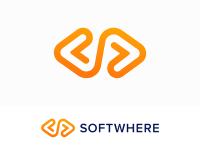 Softwhere Approved Logo Design for Software Company logo mark symbol icon brand identity branding graphic code coding software it website social media lines letter s endless clean build launch product developer tech technology process business startup marketing app host hosting soft arrow arrows direction move left right negative space