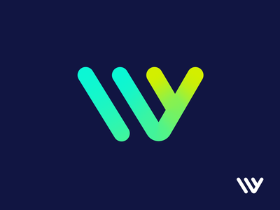 W + Y Monogram Exploration Option 2 (Unused for Sale) for sale unused buy fresh neon modern startup stroke line connection green logo mark symbol icon brand identity branding graphic letter w y alphabet gradient clean startup line icon concept