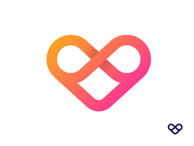 Infinite Love Logo Exploration (Unused for Sale) pink red fire eight gradient grid geometric shadow heart passion endless loop for sale unused buy brand identity branding graphic logo mark symbol icon