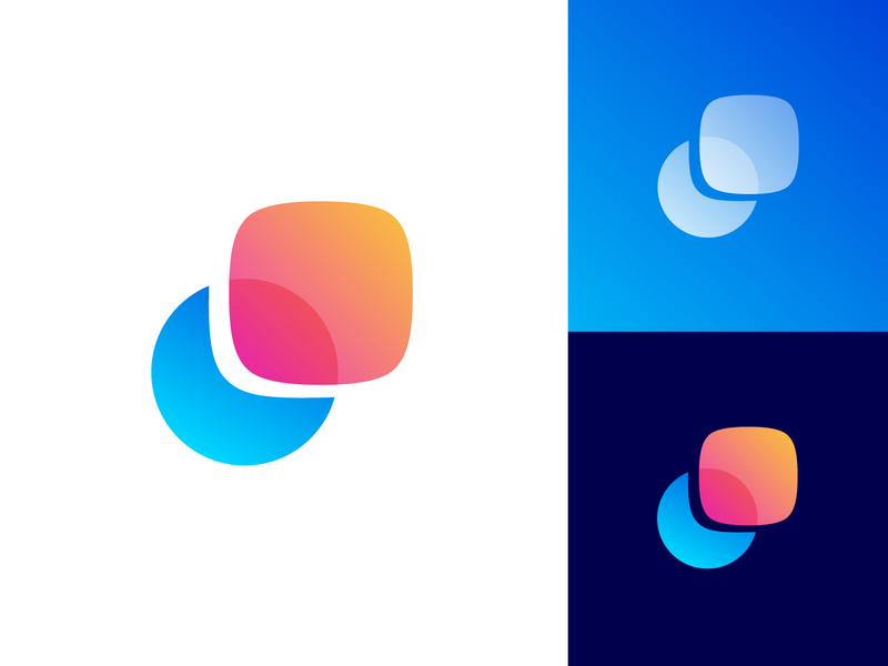 Motion / Blend / Morph Logo Exploration geometry geometric 2d light circle shape rectangle round shadow highlight negative space overlay overlap mode transition gradient modern blue pink for sale unused buy brand identity branding graphic logo mark symbol icon