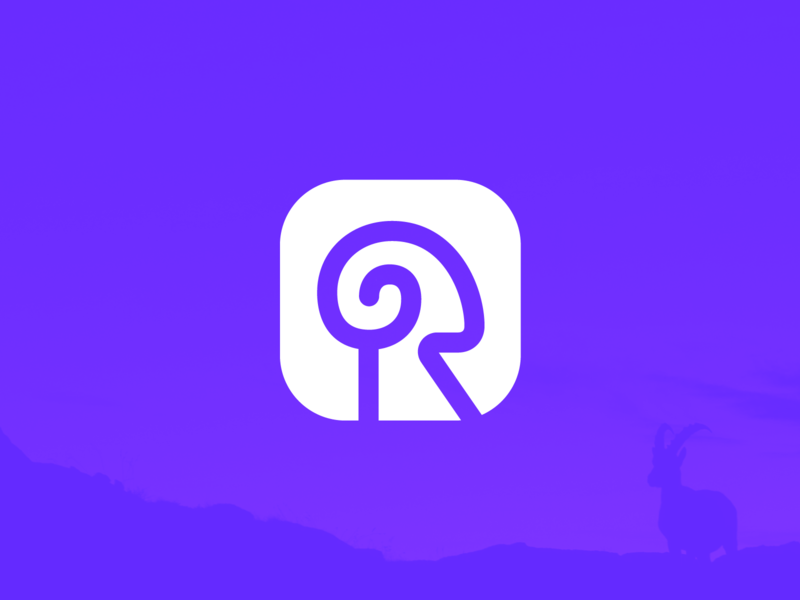 R for Ram Icon Design twist swirl tornado app ios android menu logo mark symbol icon brand identity branding graphic for sale unused buy round rounded stroke line ram animal negative space head nature minimal grid