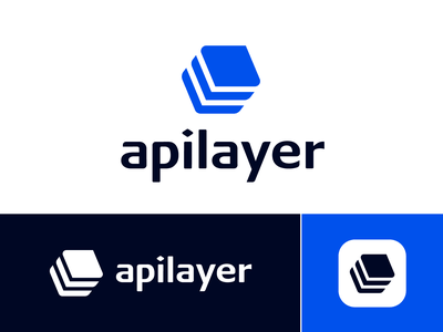 Apilayer Approved Logo Design branding rhombus square slant dynamic motion fast trail follow rise up scale move company business startup launch graphicexploration visual brand isometric type text custom isometry 2d geometric geometry layer layers layered angle solid shape vector blue wordmark letter art ui logo mark symbol icon
