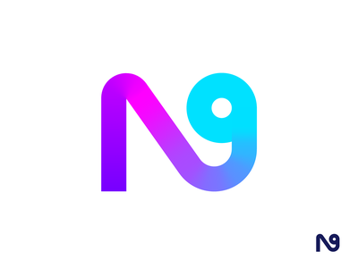 N for Nine Logo Exploration type text custom typography alphabet letter neon glow light path color colorful cyber gradient modern retro for sale unused buy 9 number digit code numeric branding graphic brand identity logo mark symbol icon