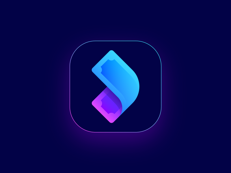 Logo Proposal Option 3 for Cash Out Mobile App ios android interface money management glow shine neon fintech finance dispenser easy fast secure pay atm distribution transaction economy fees payment gradient modern startup branding brand identity bill dollar currency fast logo mark symbol icon