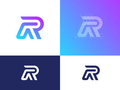 Letter R Logo Design Exploration (Unused for Sale) grid layout circles line lines sharp angle fast neon glow cyber type text custom for sale unused buy branding brand identity logo mark symbol icon