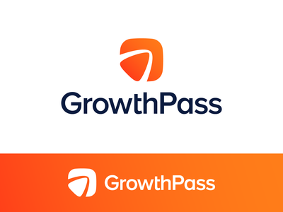 GrowthPass Logo Proposal Option 1 (Unused for Sale) square round friendly app arrow pointer negative space people group chat niche audience marketplace speed movement fast self development personal coach event pass training workshop achieve reach goal purpose grow scale big raise for sale unused buy type typography text custom branding brand identity design logo mark symbol icon