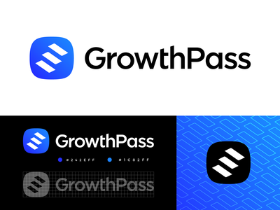 GrowthPass Approved Logo Design marketplace website social media self development personal coach negative space shadow light achieve reach goal purpose scale rise expand stairs grow growth blue pattern black dark app ios android type typography text custom graphic branding brand identity logo mark symbol icon