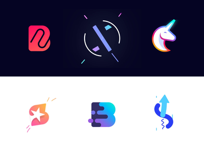 Logo Animations Collection motion designer motion graphics after effects 2d animation media play clip gif video loop arrow speed up fast s star negative space letter b person contact n letter globe world unicorn gradient magical illustration branding brand identity logo mark symbol icon