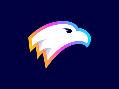 Eagle Logo Design (Unused for Sale) for sale unused buy cartoon vector art illustration mascot head freedom liberty strong bold power powerful color colorful neon bird nature hawk eagle gradient fly fast branding brand identity logo mark symbol icon