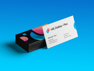 Hill, Oakley + Pax Business Cards corporate marketing social media rectangle blend mix vibrant overlay overlap mode transition motion circle round rounded circle shape rectangle round gradient branding brand identity logo mark symbol icon