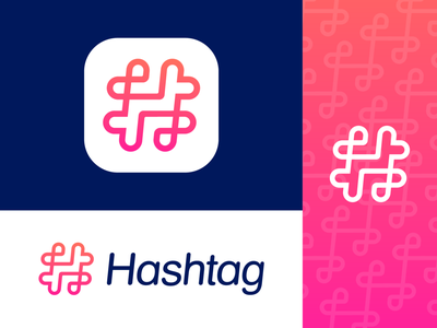Hashtag Approved Logo Design for Social Media Startup pattern pink white light path friendly round rounded marketing friends sharing fun line hearts community love hashtag hashtags social media gradient line custom ui connection team together power app application ios android type typography text custom branding brand identity logo mark symbol icon