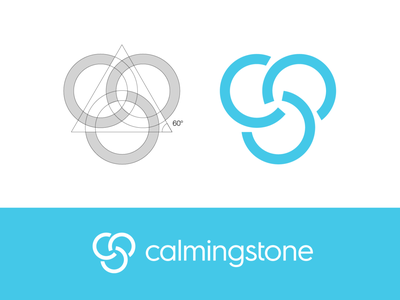 Calmingstone Logo Exploration (Unused for Sale) for sale unused buy blue turquoise sea relax chill quiet silence stone pattern calm calming device anxiety stress reduce letter c type custom geometric rotation rotate clean grid lines angle geometry branding brand identity logo mark symbol icon