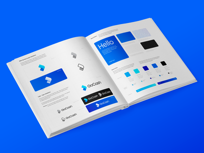 GoCash Brand Guidelines and Identity cap tshirt billboard speed motion fast secure security payment pay transaction money cash bill fly logo mark symbol icon gradient modern depth volume glow shine neon fintech finance blue cyan economy fees atm bank brand identity branding bill dollar currency fast 2d 3d realistic