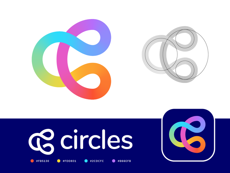 Circles / Connection / Unity / Letter C Logo (Unused for Sale) for sale unused buy tech technology cyber computer group team community together circle circles round friendly app ios android navigation mix mixed gradient colors rainbow happy pride positive curves path color colorful letter c type text branding brand identity logo mark symbol icon