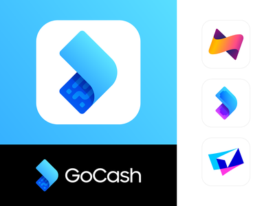 GoCash Case Study & Brand Identity Showcase app application ios android tech technology it mobile direction arrow location gps thunder bolt light lightning speed motion fast secure security payment pay transaction money cash bill fly gradient modern depth volume glow shine neon fintech finance blue cyan economy fees atm bank bill dollar currency fast pattern barcode qr code branding brand identity logo mark symbol icon