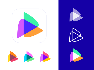 Play Symbol Color Exploration and Variations (Unused for Sale) video animation software launch colors colorful colored mix shape geometric geometry sharp play media animation software neon glow shine tech motion graphics speed render for sale unused buy branding brand identity logo mark symbol icon