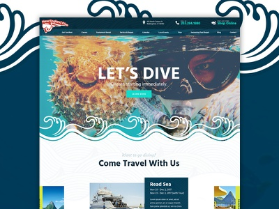 New England Dive travel water ocean dive web design