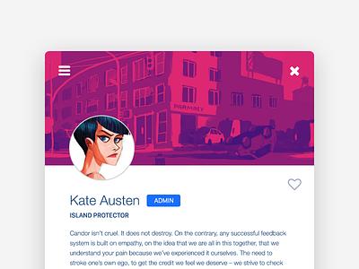 Kate Austen lost uiux card flat ui design dailyui