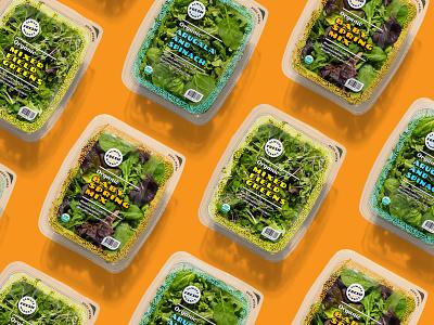Mixed greens packaging packaging food lettuce greens retro design funky colorful typogaphy health food peel organic reseal