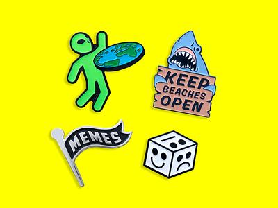 JUNK-O Enamel Pins jewlery accessories colorful pop culture emotions moody dice flat earth memes jaws shark alien lapel pin enamel pins