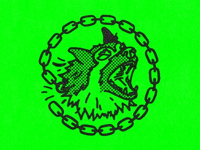 Junkyard Dog idk mean german shepherd ink texture neon chain halftone dog illustration