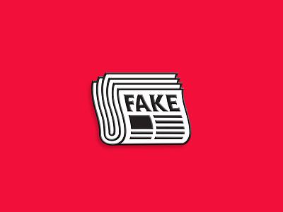 Fake News trump journalist journalism free press media mark lapel pin enamel pin fake newspaper logo icon