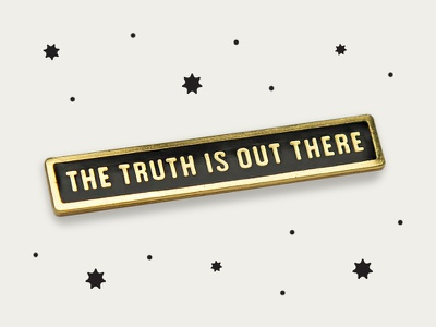 JUNK-O The Truth Is Out There Enamel Pin photography card packaging gold condensed type lapel enamel pin mulder scully x-files space