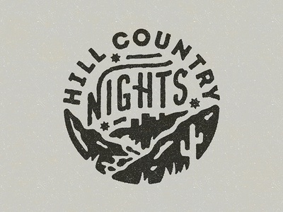 Hill Country Nights distressed vintage stars hillside night typography type lettering script icon mark logo