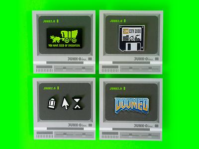 Junk2.0 Retro Game Pin Collection dos icon typography mouse cursor oregon trail sims floppy disk pc game retro