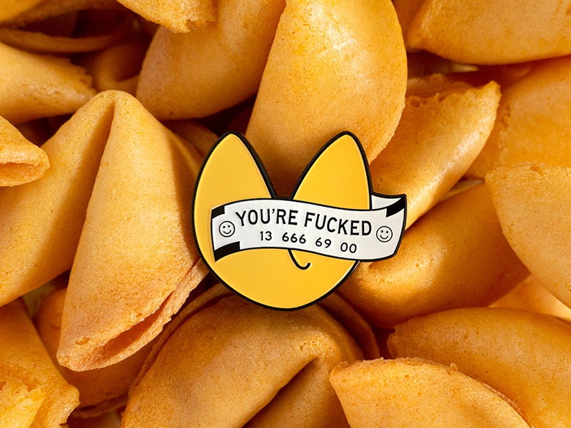 Fortune cookie enamel pin junk o