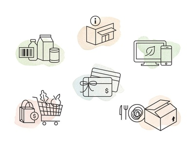 Customer Care Icons website shop ecommerce customer food grocery watercolor monoline linecon icon