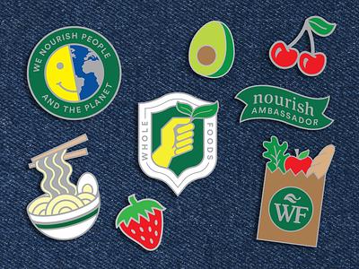 Whole Foods Enamel Pin Set organic badge fruit icon flair enamelpin store grocery
