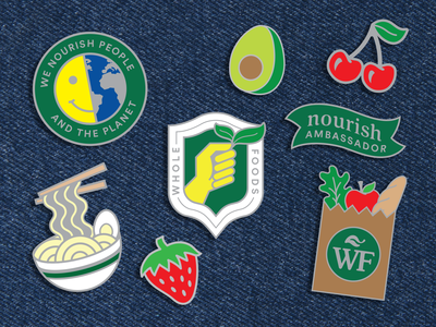 Whole Foods Enamel Pin Set organic badge fruit icon flair enamelpin store grocery