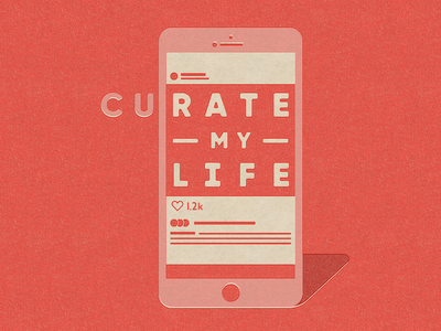 Curate risograph texture type typogaphy spot illustration social media instagram smartphone iphone icon illustration