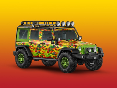 Jeep Wrap wrangler jeep expo trade show vehicle gradient camo camouflage pattern