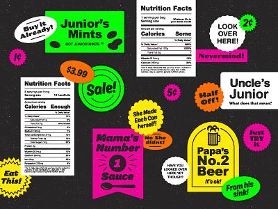 Art pop art neon halftone distress texture type sticker parody food label