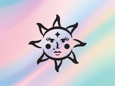Sun Lady branding cosmetics pastel face woman astrology moon star horoscope zodiac sun