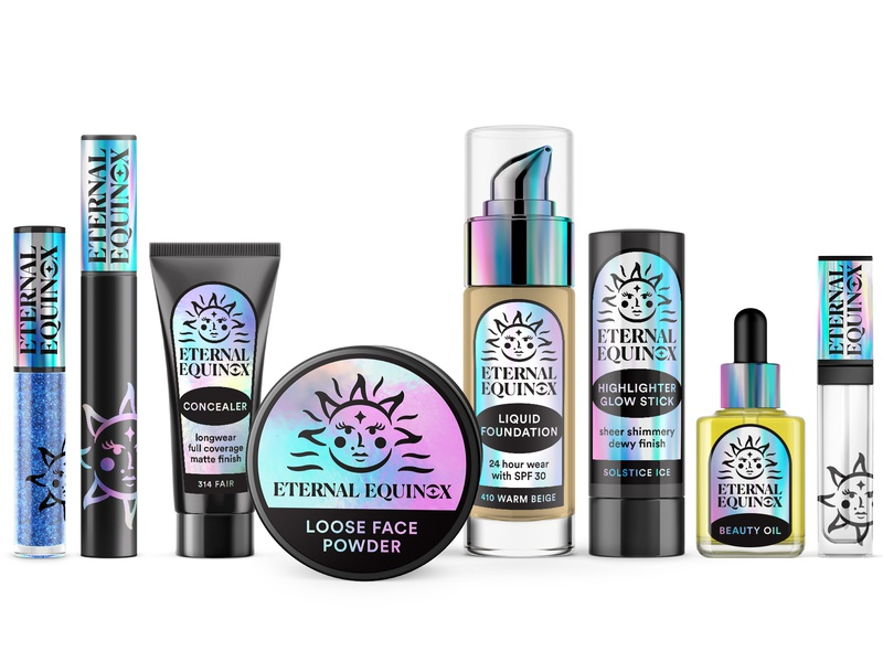Eternal Equinox Cosmetics sun print astrology rainbow holographic label makeup cosmetics packaging logo branding